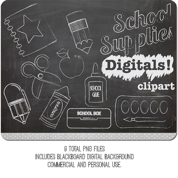 Chalk Clipart School Supplies