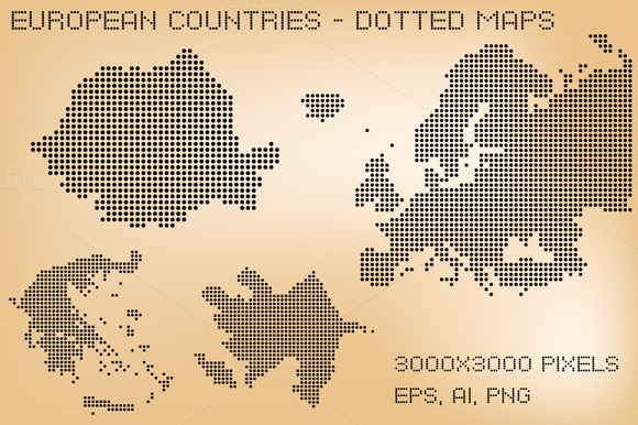 European Countries Dotted Maps
