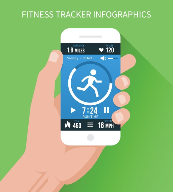 Fitness App On Mobile Phone In Hand