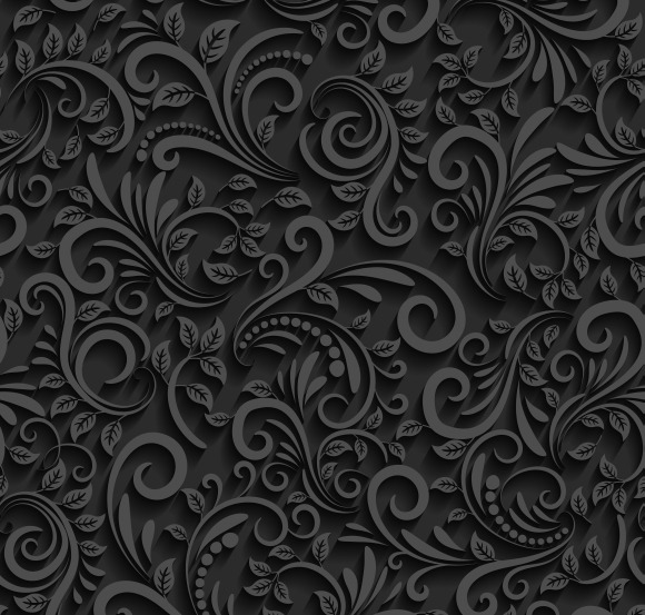 Vector Black Floral Seamless Pattern