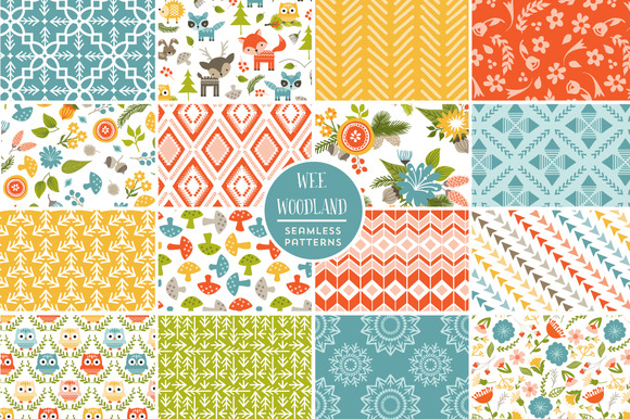 Wee Woodland Seamless Patterns