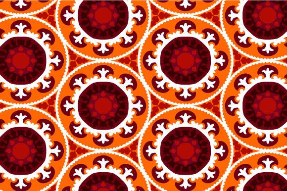 Suzani Pattern In Orange