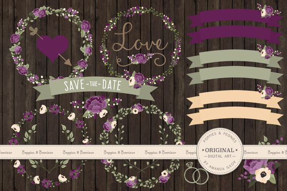 Plum Floral Wedding Vectors