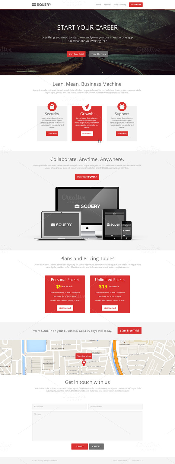 Squery Landing Page PSD