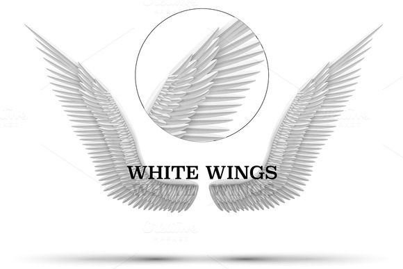 White Open Angel Wings