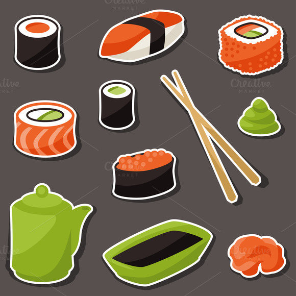 Various Sushi Stickers