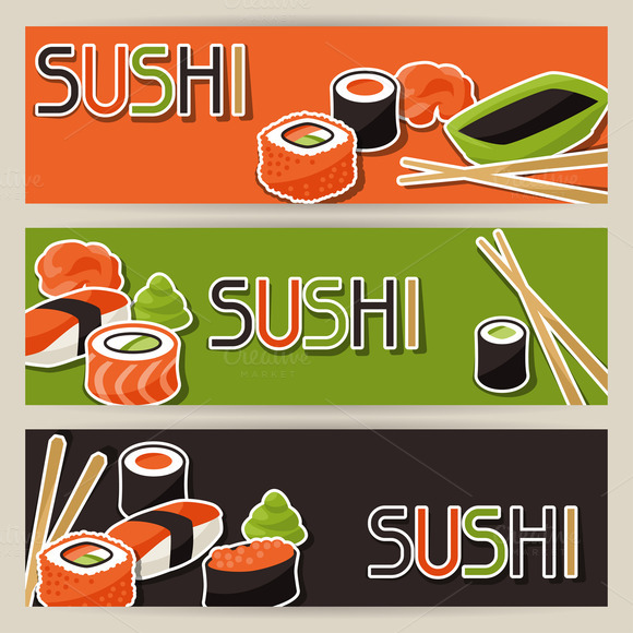 Banners With Sushi
