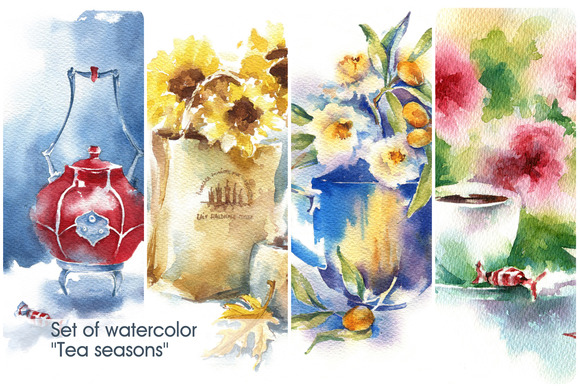 Set Of Watercolor Tea Seasons
