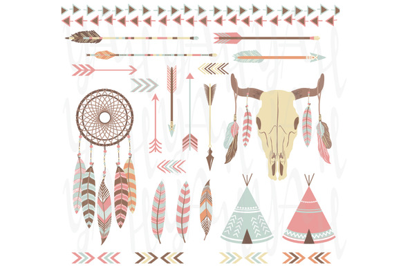 Tribal Indian Clip Art Elements