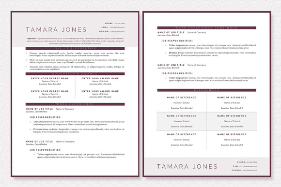 Plum Resume Template Package