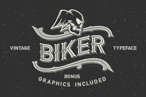 Biker Font Set Graphics