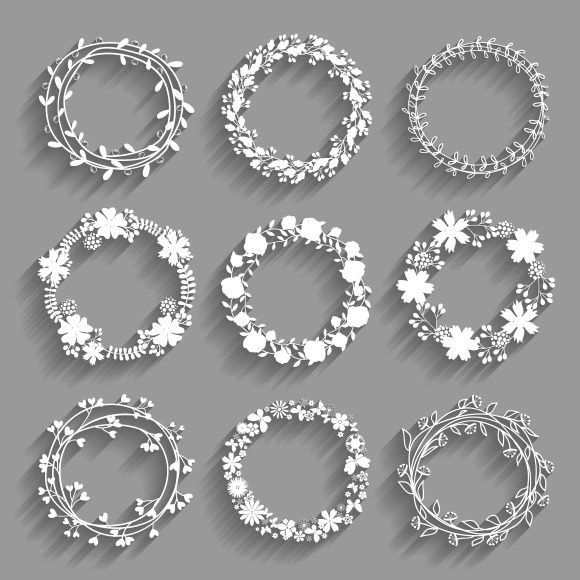 White Vector Wreaths With Shadows
