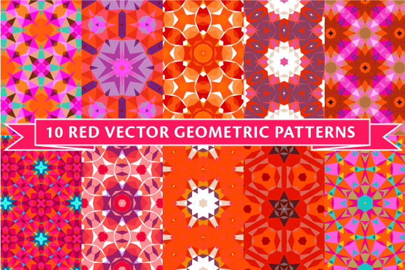 Ten Red Vector Geometric Patterns