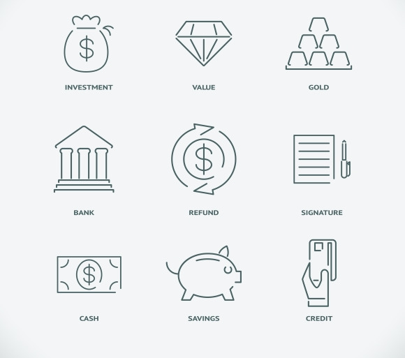 Thin Modern Line Finance Icons