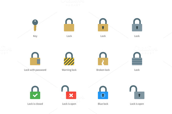 Lock And Key Color Icons