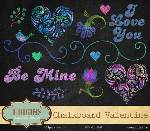 Chalkboard Valentine Clipart