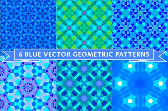 Six Blue Geometric Patterns