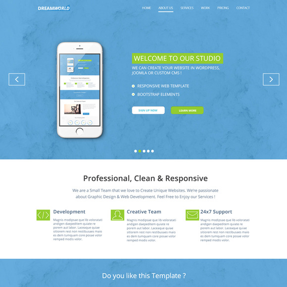 Dreamworld PSD Landing Page
