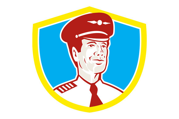 Aircraft Pilot Aviator Shield Retro