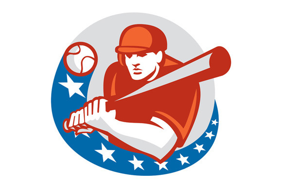 Baseball Player Batter Stars Circle