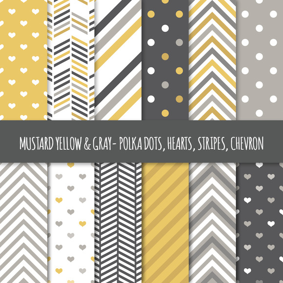 Mustard Gray Seamless Patterns