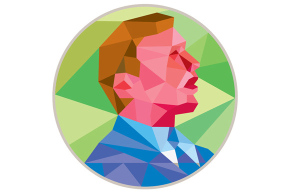 Businessman Looking Up Circle Low Po