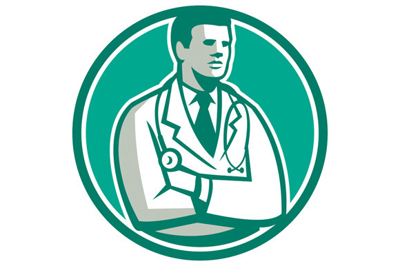 Doctor Stethoscope Standing Circle R