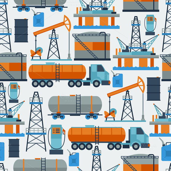 Oil Industrial Seamless Patterns