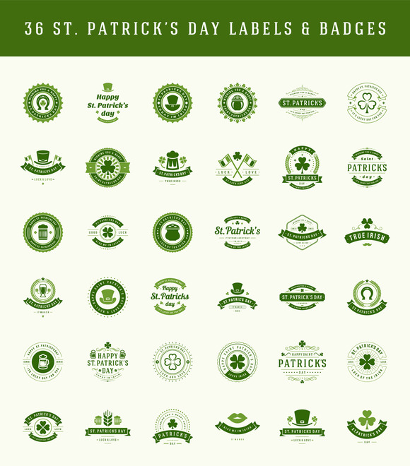 St Patricks Day Labels And Badges