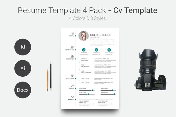 Resume CV Template 4 Pack