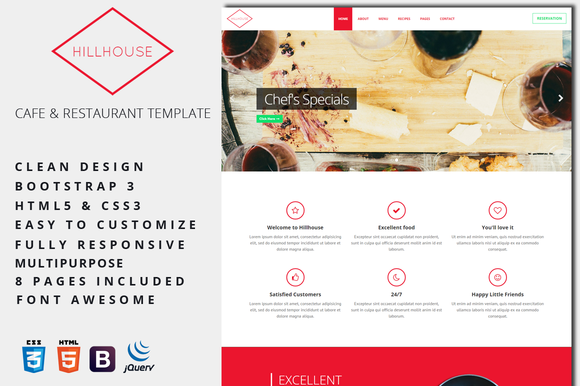 Hillhouse Cafe Restaurant Template