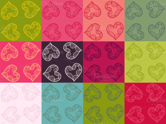 Collection Of Patterns With Hearts