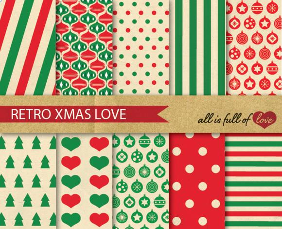 Christmas Patterns Set Retro Style