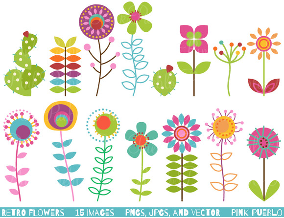 Retro Flowers Clipart Vectors