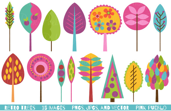 Retro Trees Clipart And Vectors