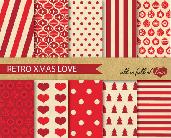 Red Christmas Digital Patterns