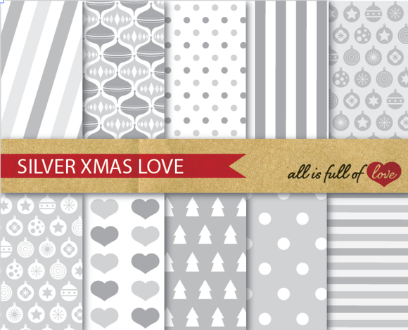 Silver Christmas Background Patterns