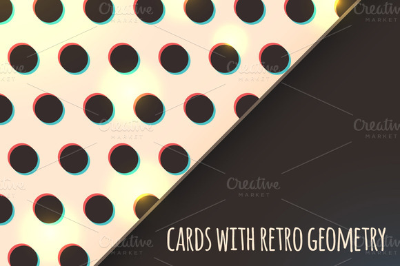 Cards With Retro Geometry