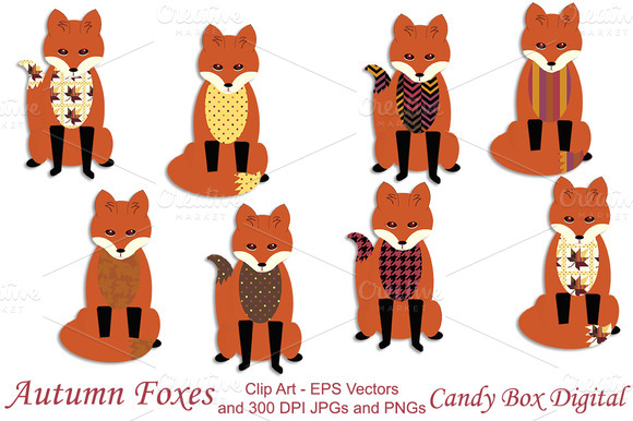 Autumn Fox Clip Art W Vectors