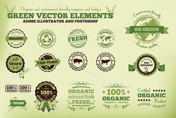 Vintage Green Vector Badges