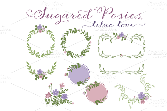 Purple Floral Wreaths Laurels