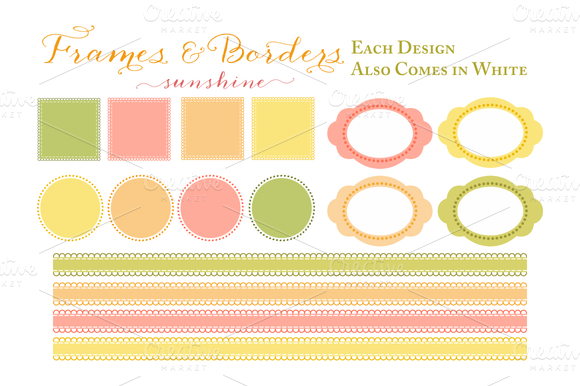 Sherbet Colored Frames Borders