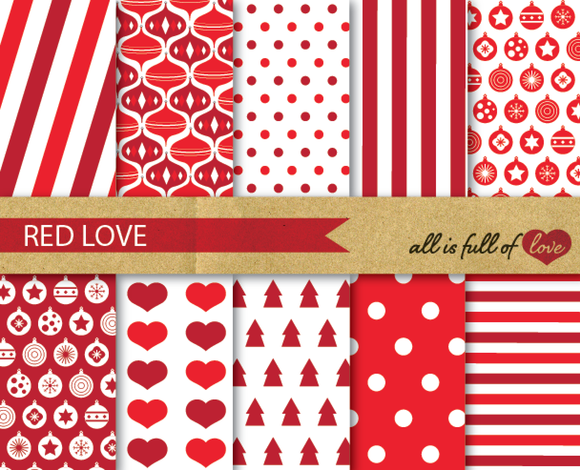 Red Christmas Digital Backgrounds