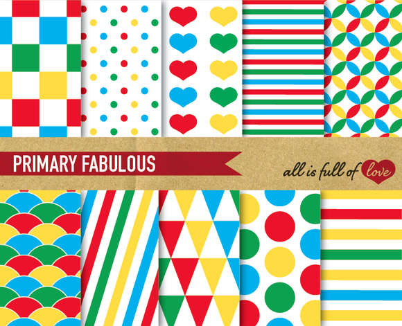 Primary Colors Digital Patterns Fun