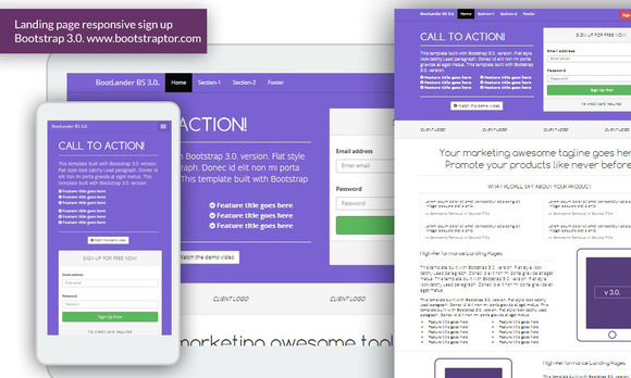 Landing Page Responsive Signup Bs3