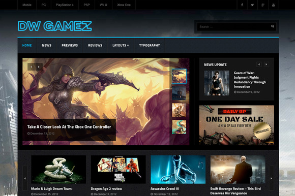 DW Gamez Game Magazine WP Themes