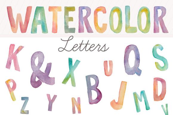 Watercolor Letters- Clip Art
