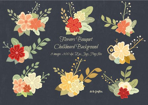 Flower Bouquet Chalkboard Background