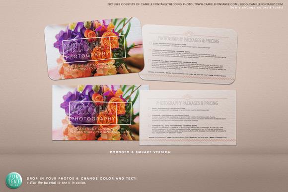 3.5 X 2 Wedding Photo Business Card