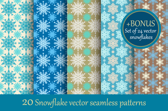 20 Snowflake Seamless Patterns